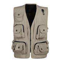 Quinquagenarian vest waistcoat canvas photography vest multi-pocket vest plus size male