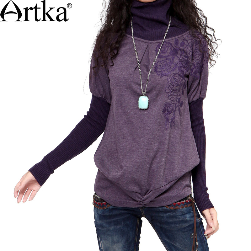 Artka Women's Autumn Retro Vintage Ethnic Embroidery Turtleneck Knitted Long Sleeve False Two Piece Cotton Sweater ZA10233D(China (Mainland))