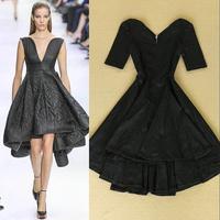 2014 V-neck fashion sexy strapless evening dress pleated dress skirt elegant one-piece dress