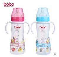 Baby Feeding/Milk/Nursing  glass BottleWith the handle straw Bottle Wide aperture 330mL