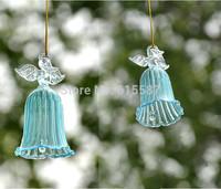 New Home Christmas holiday wedding Decorations Transparent glass wind chime praying angel Campanula beautiful gift car pendant