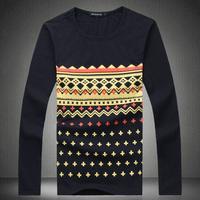 2014 autumn Mens Fashion T-shirts Chinese National style long-sleeve Tshirt camisetas,#013 big size M-5XL 6XL,NAVY,GRAY