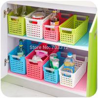 Multi-colored thickening rectangle plastic storage basket bathroom desktop storage basket