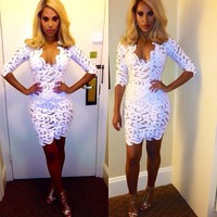 women's 2014 fashion new arrival hot-selling crochet lace half-sleeve white Deep V-Neck bodycon pencil mini dress