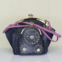 Hot-selling quality double clip diamond denim bags clip big rhinestone women's handbag messenger bag