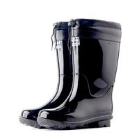 Men's Plus male boots high rainboots black waterproof shoes men slip-resistant rainboot rain boot thermal cotton pad water shoe