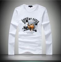 High Quality Men Tee Shirt, 2014 new fall style print design full sleeve mans T-shirt #22006 4colors Plus size M-4XL 5XL 6XL