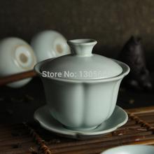 Petals tureen design Chinese ruyao tea set ceramic gaiwan lid bowl cup saucer 120ml pottery gaiwan made in China high quality