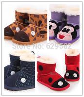 2014 Original Children's Animals Snow Boot Winter Inside 100% Wool Genuine Leather Shoes for Child Ladybug Giraffe Snow Boots