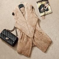 2014 Winter 100% Real Mink Fur Knitted Coat   Natural Mink Fur Vest   Fur Gilet  Fur Waistcoat SU-1494 EMS Free Shipping