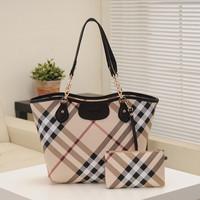 New arrival 2014 women plaid bag female big shoulder bag with purse designer check bag high quality free shipping