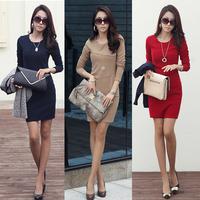 2014 autumn women's long-sleeve anti-wrinkle ol basic elegant plus size slim hip slim one-piece dress female