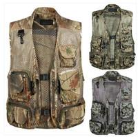 2014 summer male Camouflage mesh vest outdoor multi-pocket vest plus size vest thin