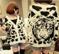 2014 loose batwing sleeve tiger leopard print long-haired cardigan sweater outerwear female warm crochet jacket coat  hot sale
