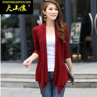 2014 autumn sweater female cardigan slim thin medium-long cutout sunscreen knitted outerwear
