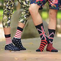 National flag socks male knee-high socks sock 100% cotton combed cotton personality vintage the trend stripe socks