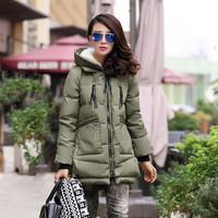 04 women's down coat tooling down coat medium-long loose plus size down coat