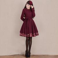 [LYNETTE'S CHINOISERIE - YHT ] Autumn New Women Plus Size Elegant Slim Vintage Print Patchwork Woolen Dress Sz S M L XL XXL XXXL
