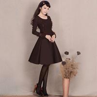 [LYNETTE'S CHINOISERIE - YHT ] Autumn Women Plus Size Elegant Slim Lace Patchwork Dark Coffee Woolen Dress Sz S M L XL XXL XXXL