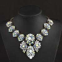 Fashion Europ Jewelry Crystal Chunky Statement Bib Pendant Chain Choker Necklace