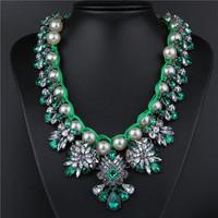 Fashion fashion pearl rhinestone chain exaggerated necklace