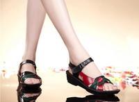 2014 summer flat sandals genuine leather soft outsole quinquagenarian wedges sandals casual plus size female sandals