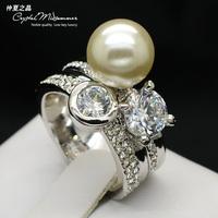 Ki for sm an the big pearl ring zircon rhinestone women's ring silver finger ring