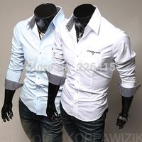 HOT SALE Mens casual shirt unique stripe color camisa social masculina slim fit long-sleeve shirt mens dress shirts
