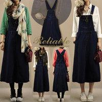women's autumn clothing denim vintage dresses elegant loose denim braces full dress suspender