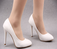 Black thin heels single shoes white high-heeled shoes thin heels shoes autumn 2014 dipper shoes shallow mouth