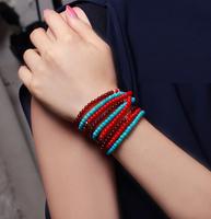 E5099 bohemia summer long design natural stone multicolour beads bracelet fashion multi-layer circle beaded bracelet