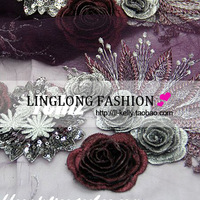 freeshipping   Deep purple embroidery gauze embroidered clothes cheongsam diy fabric lace