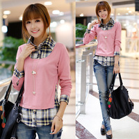 2014 girls fashion new style autumn slim faux two piece shirt female women's long-sleeve top gray and pink