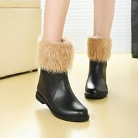 Women Short rain boots shoes plus velvet thermal liner rainboots winter faux leather water shoe rainboot ankle boot  snow boots