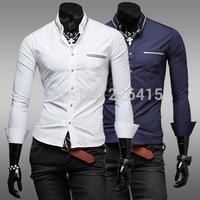 Free Shipping man 2014 camisa social masculina ribbon color decoration mens dress shirts casual male slim fit shirt