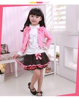 2014  Children's clothing female child three piece set skirt child autumn set  girl lace princess dress