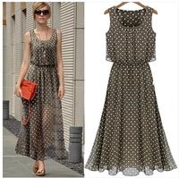 Fashion women's vintage polka dot strapless slim waist dot chiffon vest one-piece dress full dress