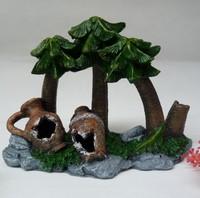 New arrival aquarium decor coconut tree vase L21cm*H17cm*W9cm fish tank aquarium ornament decoration free shipping