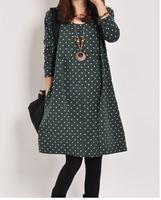 Maternity clothing autumn and winter fashion polka dot one-piece dress maternity long-sleeve plus size loose maternity dress