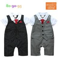Wholesale 5 Piece Striped Baby Boy Romper Tuxedo Suit Fake Vest Gentleman Overall With Red Tie Black Grey In Stock
