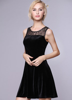 Free shipping 2014 autumn new women's gold velvet vest dress skirt dress was thin Slim wild