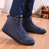Autumn high new men rivet for shoes, canvas shoes male students casual shoes