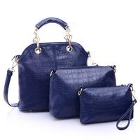 Fashion luxury for Crocodile vintage picture package piece set women's handbag portable women's one shoulder cross-body bag