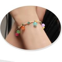 Handmade knitted bohemia aesthetic lucky clover bracelet beads straw bracelet wishing bracelet