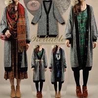 oversize loose vintage V-neck block decoration outerwear thick long design sweater