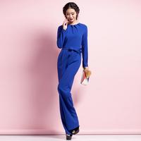2014 autumn female long-sleeve jumpsuit blue wide leg pants high waist jumpsuit female l053a13