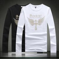 2014 new Plus size M-XXXXXL 4XL 5XL round collar FULL sleeve cotton Casual T-shirts Men's Fashion Tee t shirt Good Quality #633