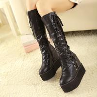 2014 new fashion bandage car zipper knee-high boots round toe flat platform wedges women winter  boots high-leg 813 - 29