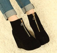 2014 new fashion winter wedges flat platform zipper leather women ankle boots high-heeled fashion boots 300