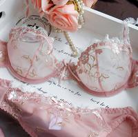 French women bra set models sexy transparent lace lingerie bra panty set bra brief sets plus size underwear free shipping